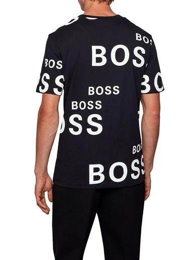 Hugo Boss  Pamuklu Logo Baskılı Bisiklet Yaka T Shirt Erkek T Shırt 50436848 001 Siyah